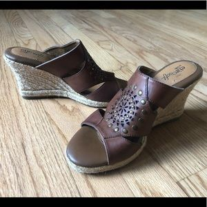 Sofft Brown Leather Rope Wedge Sandal Size 8